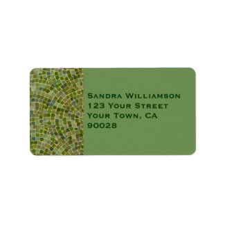 green tile personalized address label