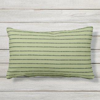 Green Tile Stripe Khaki Outdoor Lumbar Pillow