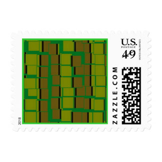 Green Tile Stripes Postage