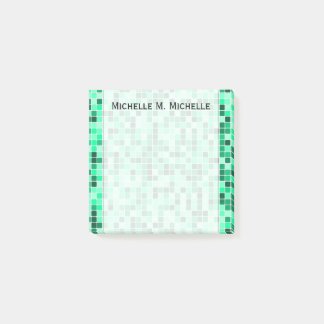Green Tiled Squares Pattern + Custom Name Note