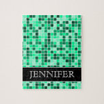 [ Thumbnail: Green Tiled Squares Pattern + Custom Name Puzzle ]