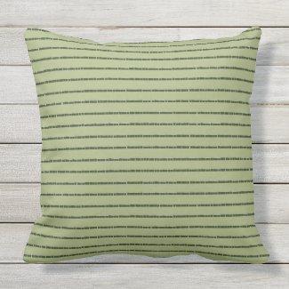 Green Tiled Stripe Over Khaki Outdoor Pillow 20x20