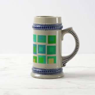 Green Tiles with a Purple Heart Beer Stein
