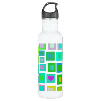 Green Tiles with a Purple Heart 24oz Water Bottle
