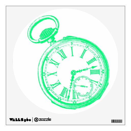 Green Tilting Clock Vintage Pocketwatch Wall Decal