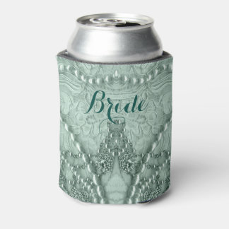 Green Tint Lace With White Purls Can Cooler