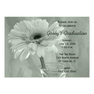 Green Tinted Daisy Graduation Party Invitation