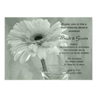 Green Tinted Daisy Post Wedding Brunch Invitation