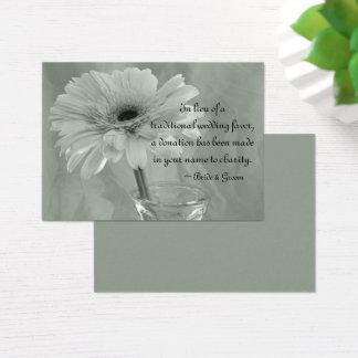 Green Tinted Daisy Wedding Charity Favor Card