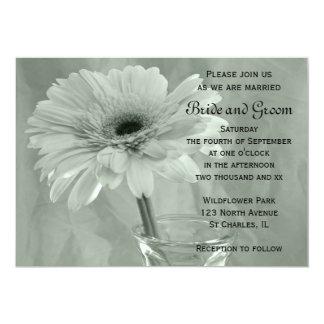 Green Tinted Daisy Wedding Invitation