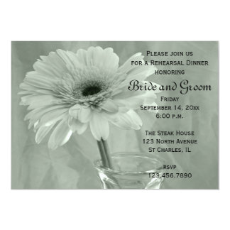 Green Tinted Daisy Wedding Rehearsal Dinner Invite