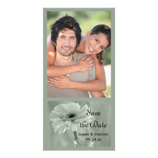 Green Tinted Daisy Wedding Save the Date Card