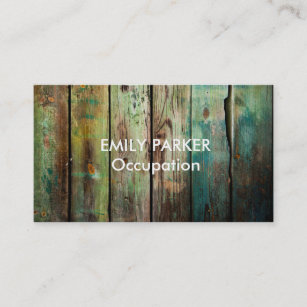 Green wood business cards zazzle green tinted distressed rustic wood professional business card reheart Images