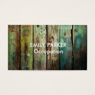 Green Tinted Distressed Rustic Wood Professional Business Card