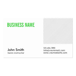 Green Title Swim Instructor Business Card