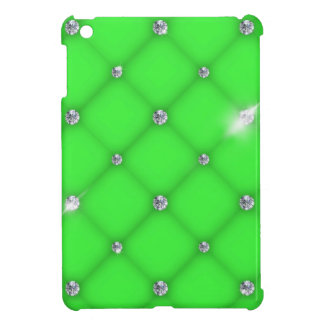 Green to leather upholstery with diamonds iPad mini covers