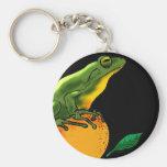 Green Toad and Orange Keychain