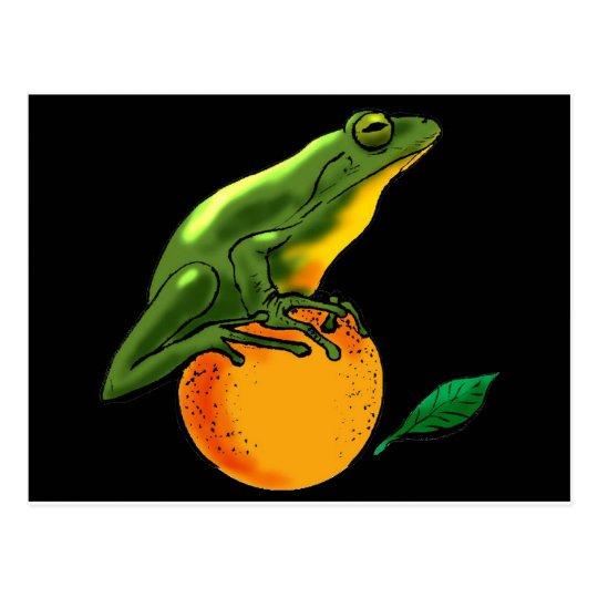 Green Toad and Orange Postcard