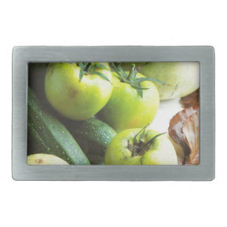 Green tomatoes and melons belt buckles