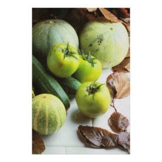Green tomatoes and melons poster