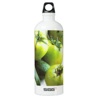 Green tomatoes and melons water bottle