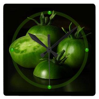 Green Tomatoes Square Wall Clock