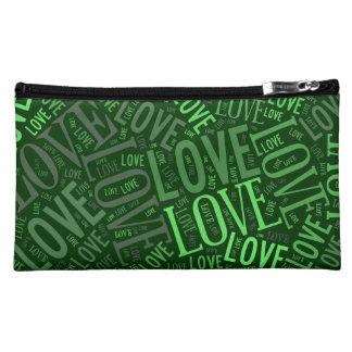 Green Tone Love Inscriptions Makeup Bag