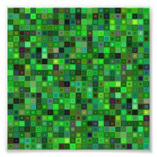 Green tone squares photo print