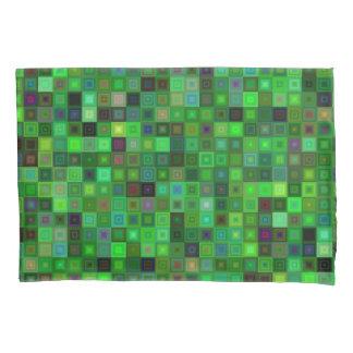Green tone squares pillowcase