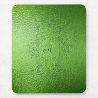 Green Tones Stained Glass Mouse Pad