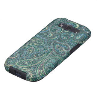 Green Tones Vintage Ornate Paisley Pattern Samsung Galaxy S3 Cover
