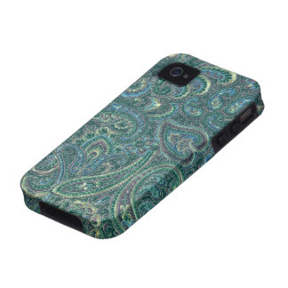 Green Tones Vintage Ornate Paisley Pattern Vibe iPhone 4 Covers
