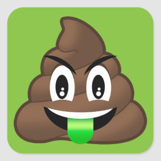 Green Tongue Crazy Poop Emoji Square Sticker