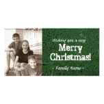 Green Tooled Leather Photo Christmas Card Personalized Photo Card