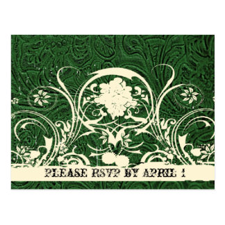 Green Tooled Leather RSVP Postcard