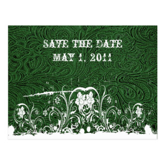 Green Tooled Leather Save the Date Postcard