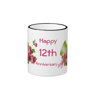 Green top hat and roses, Happy 12th Anniversary Mugs