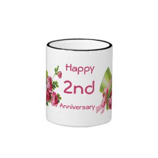 Green top hat and roses, Happy 2nd Anniversary Mug
