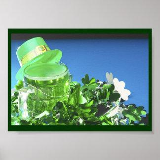 Green Top Hat & Green Beer - Poster