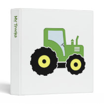 Green toy tractor 3 ring binder