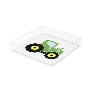 Green toy tractor acrylic tray