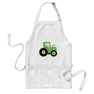 Green toy tractor adult apron