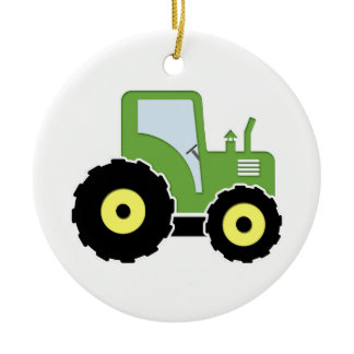 Green toy tractor ceramic ornament