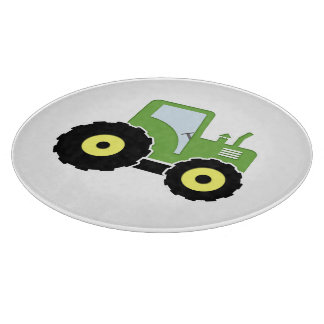 Green toy tractor cutting board