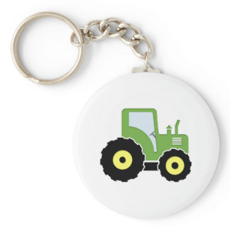 Green toy tractor keychain