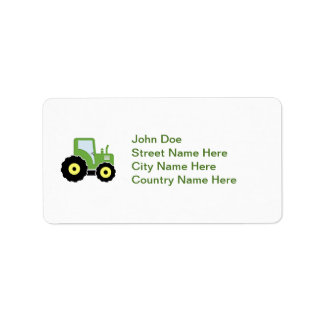 Green toy tractor label