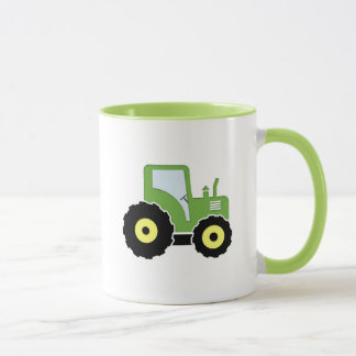 Green toy tractor mug