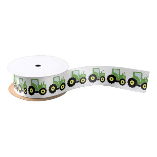 Green toy tractor satin ribbon