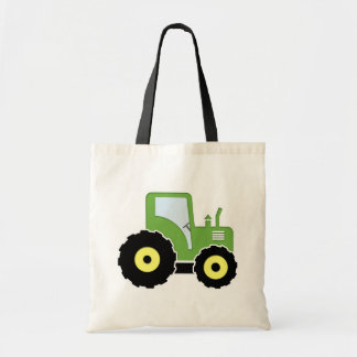 Green toy tractor tote bag