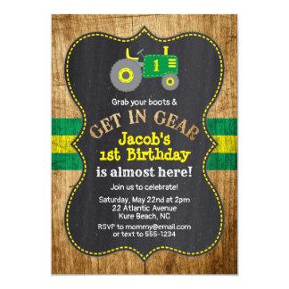 Green Tractor 1st Birthday Boy Party Farm Invitation